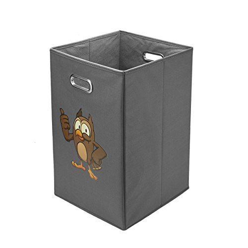 Avinee Folding Laundry Clothes Hamper, Decorative Foldable Clothes Bin with Built in Chrome Handles(Owl)
