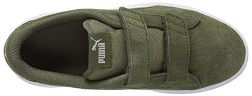 PUMA Baby Smash v2 SD Velcro Kids Sneaker, Burnt Olive White White, 8 M US Toddler