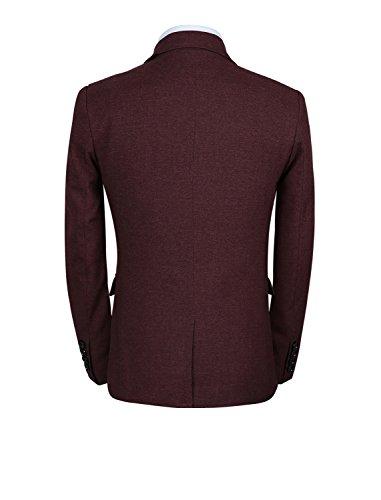 3 Pièces Costumes Slim Robe Hiver Casual + Veste Blazer Mis + Pantalon Rouge Vin Hommes Mogu