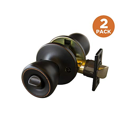 Design House 190470 2-Pack Terrace 6-Way Latch Privacy Door Knob, Oil Rubbed Bronze from Design House