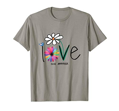 Love One Another Bird Daisy Flower Peace Funny T-Shirt