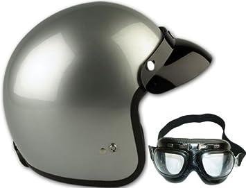 Amazon.es: Viper RS 04 casco abierto de la motocicleta, casco jet, moto scooter de Casco giras Plata (con gafas) (XL)