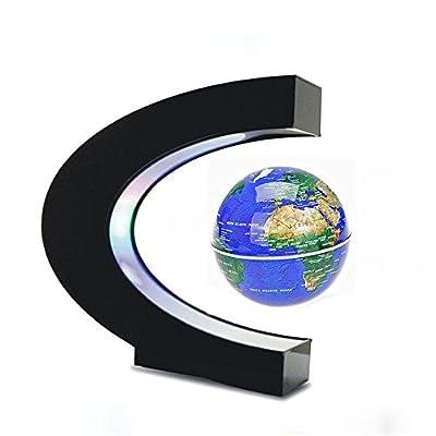 Estefanlo Floating Globe with LED Lights C Shape Magnetic Levitation Floating Globe World Map for Desk Decoration (Blue): Office Products