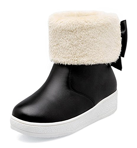 Mid Heel Faux Calf CHFSO Mid Boots Platform Snow Solid Women's Warm Bow Lined Fur Winter Black Waterproof vPxCUP