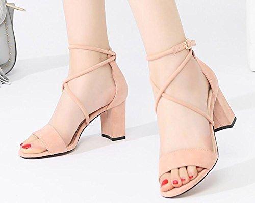 Sandalias verano femenino 2017 de los estudiantes nuevo áspero salvaje con los altos talones con la venda con los zapatos femeninos 3