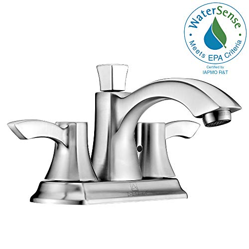 ANZZI Vista 4 in Centerset 2 Handle Two Hole Mid-Arc Bathroom Sink Faucet in Brushed Nickel | Vessel Basin Sinks Waterfall Deck Mounted cUPC Lavatory Faucet | Valve included | L-AZ014BN