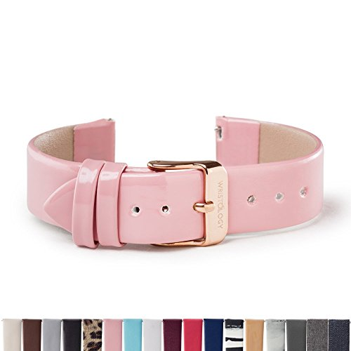 WRISTOLOGY Rose Gold 18mm Womens Easy Interchangeable Watch Band (Pink Patent) by Wristology