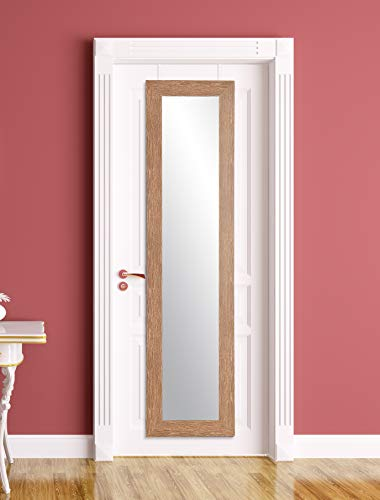 BrandtWorks AZBM88THINH-WH Over The Over The Door Mirror, Farmhouse Wood