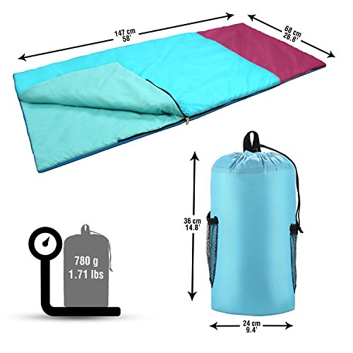 Abco Tech Kids Or Childrens Junior Sleeping Bags Polyester Ultralight Sleeping Bag For Camping Hiking Withstands Extreme Temp Of 32 60F Includes Backpack For Storage Carrying