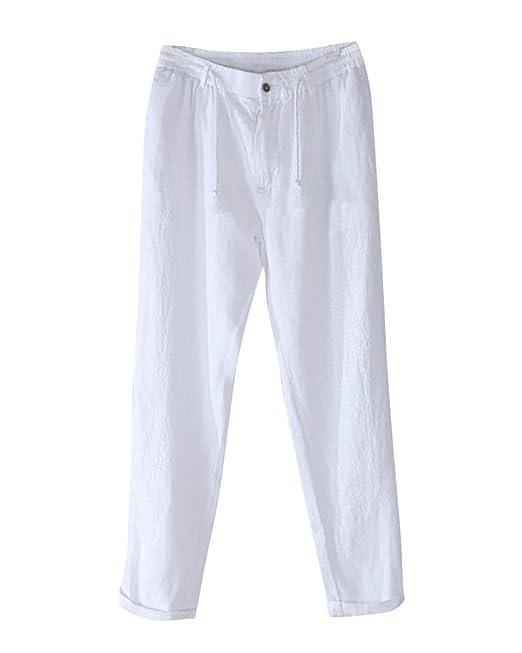 Pantalones De Lino Harem Anchos Hombre Deportivos Casual Jogging Blanco M