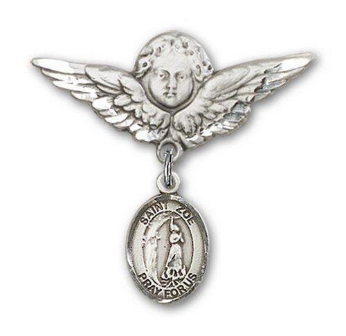 Icecarats Créatrice De Bijoux En Argent Sterling St. Zoe De Rome Charme Ange Broche De Badge 1 1/8 X 1 1/8
