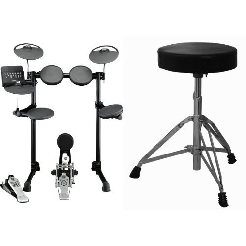 Yamaha DTX450K Customizable Electronic Drum Kit with Kick Pedal, Tower, and Drum Throne