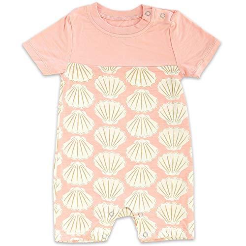 Silkberry Baby Bamboo Short Sleeve Romper Seashell ()