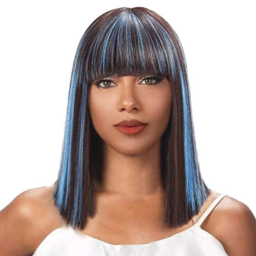 Inkach Short Bob Wig with Neat Bangs Straight Full Hair Wigs Heat Resistant Synthetic Fiber Daily Cosplay Party Wig for Black Women (Multicolor)