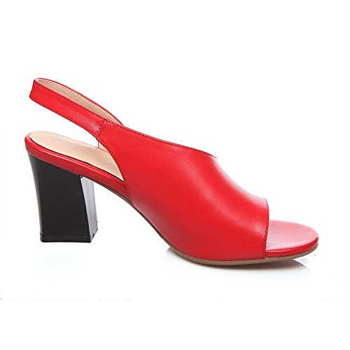 AllhqFashion Mujeres Tacón ancho Material Suave Sólido Puntera Abierta Sin cordones Sandalia Rojo