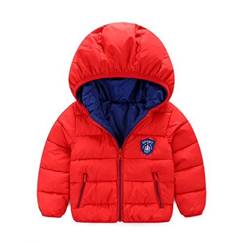 Kid's Children's Down Coats Outwear Winter Thickened Coat Down Jacket (Red 4-5 Years Old )