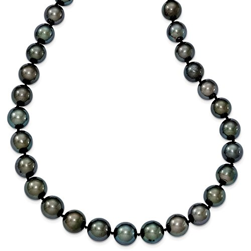 14k White Gold 10-12mm Off-roundblack Tahitian Pearl Graduate Necklace - 19 Inch ()