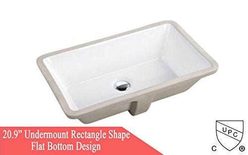 KINGSMAN 20.9 INCH Rectrangle Undermount Vitreous Ceramic Lavatory Vanity Bathroom Sink Pure White (20.9 INCH) (Ceramic White Sink Undermount)
