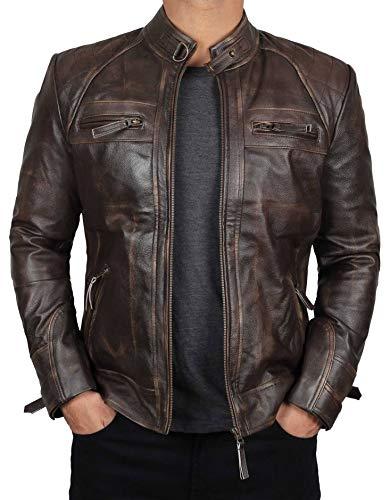 BlingSoul Vintage Leather Jacket Mens | [1100115] Johnson Distress - XL