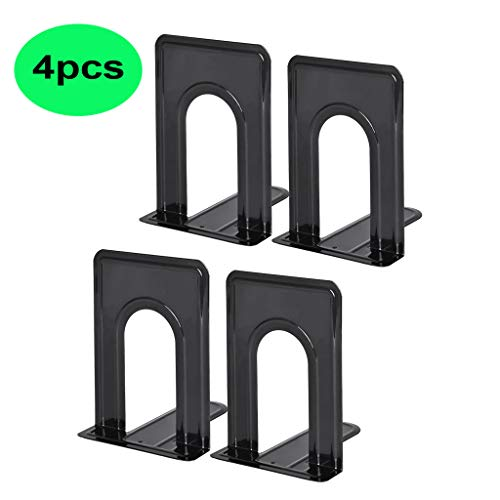 Pinleg Metal Universal Premium Bookend Non-Skid Heavy Duty Metal Book Ends Shelves for Book Support Book Stopper for Books, Movies, Magazines, Video Games 2 Pairs / 4 Pieces from Pinleg