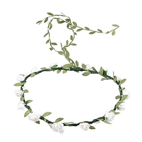 Mode de mariage Bandeau Couronne cheveux Fleurs artificielles Wreath, Blanc