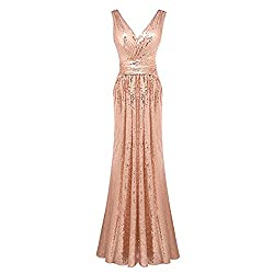 Women's Sequin Paillette V-Neck Bridesmaid Cocktail Dress