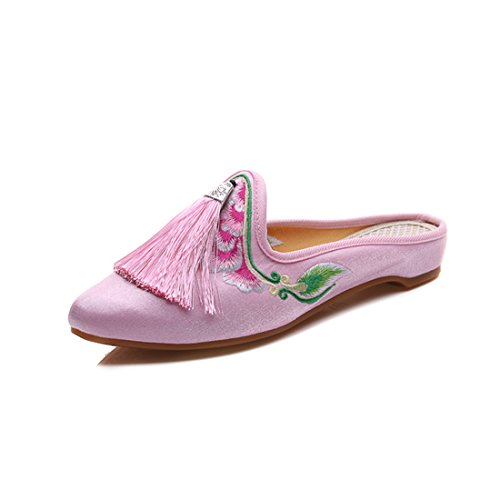 Floral Pink Casual Pointed Mules On Slip YIBLBOX Women's Embroidery Shoes Women Satin Toe Backless House Loafers For Chinese Tassels Slippers PHwwx0qE