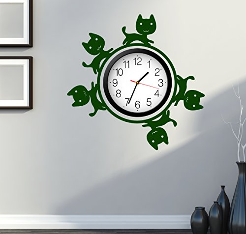 Cat Kitty Pets Cute For Bedroom Wall Decal Around Clock Dark Green (z2689)