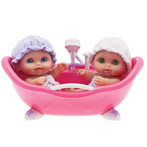 "JC Toys Lil' Cutsies Twin Dolls in Bath - 8.5"" all vinyl water friendly dolls..."