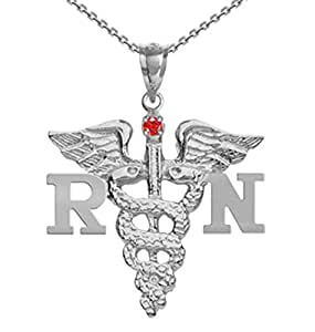 NursingPin - Registered Nurse RN Nursing Charm with Ruby on Necklace in Silver - 16IN