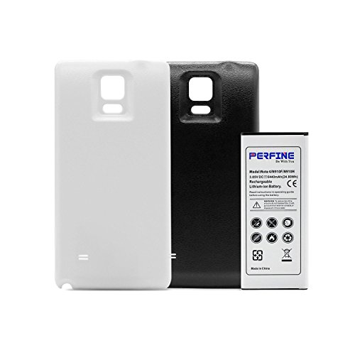 Perfine Note 4 6440mAh Extended Battery Suitable for Samsung Galaxy Note4 N910F N910H with 2 Back Cases (Black-White)[NFC/Google Wallet] ()