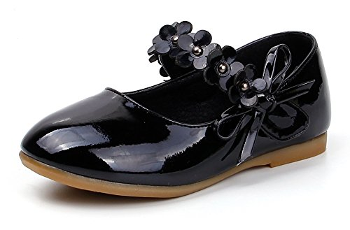 Femizee Toddler Girls Flower Mary Jane Ballet Flats Shoes with Hook and Loop Strap(Toddler/Little Kid),Black,1527 CN 30