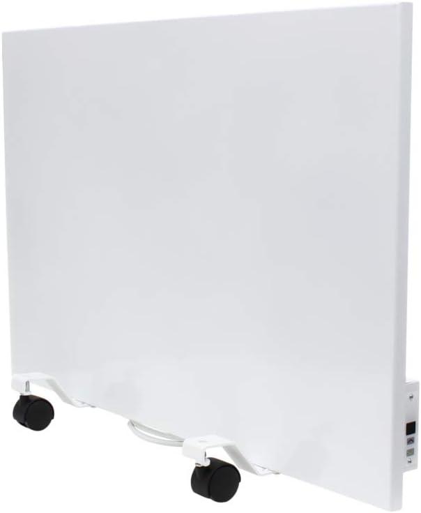 XIMAX Calefactor por infrarrojos eléctrico, incluye ruedas y termostato, calefacción de estacionamiento móvil, 500 W, 500 x 750 mm, 230 V (50 Hz), color blanco, habitaciones de hasta 10 m²