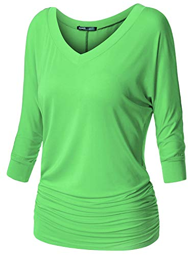(TWINTH Women's 3/4 Sleeve Cowl Neck Long Sleeve Pullover KellyGreen 3XL Plus Size)