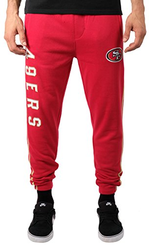 49ers Gear - ICER Brands NFL San Francisco 49ers Men's Jogger Pants Varsity Stripe Fleece Sweatpants, Small, Red