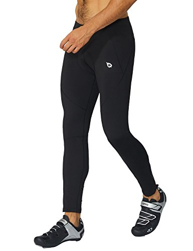 3d Tights (Baleaf Men's 3D Padded Thermal Fleece Cycling Tights Pants Black Size M)
