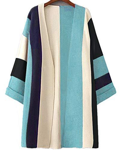 MoomTry Women's Fashion Cardigan Sweater Fringe Pattern Sweaters Coat Blue One size