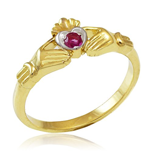 Dainty 10k Two-Tone Yellow Gold Red Ruby on Heart Claddagh Ring (Size 12) (Claddagh Ruby Gold Ring Yellow)