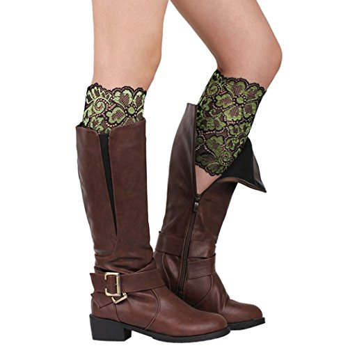 DEESEE(TM) Women Stretch Lace Boot Leg Cuffs Soft Laced Boot Socks (Green)