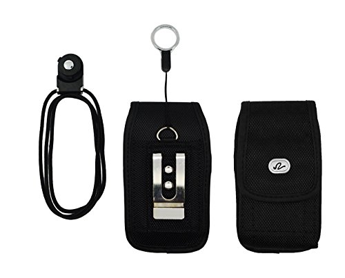 - iPhone 4s Holster Case + Hand Neck Lanyard Strap, NEM Heavy Duty Rugged Vertical Nylon Canvas Pouch Protective Carrying Case with Metal Belt Clip Pen Clip & Belt Loop for iPhone 3G 3Gs 4 4s (Black)