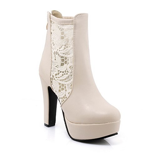 1TO9 Womens Embroidered Waterproof Fashion Urethane Boots MJS03153 Beige MOlGk