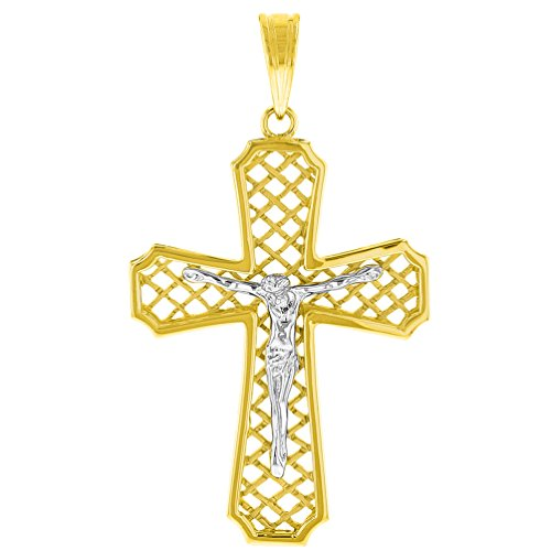 (14K Two Tone Gold Large Religious Cross Patterned Crucifix Pendant)
