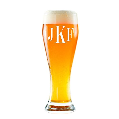 Personalized Pilsner Beer Glass, Monogrammed Pint Glasses, Initials Pilsner Beer glass (Pilsner 16 oz.)
