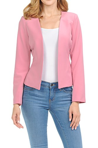 Auliné Collection Women's Candy Color Tailored Fit Open Suit Jacket Blazer Rose XL by Auliné Collection