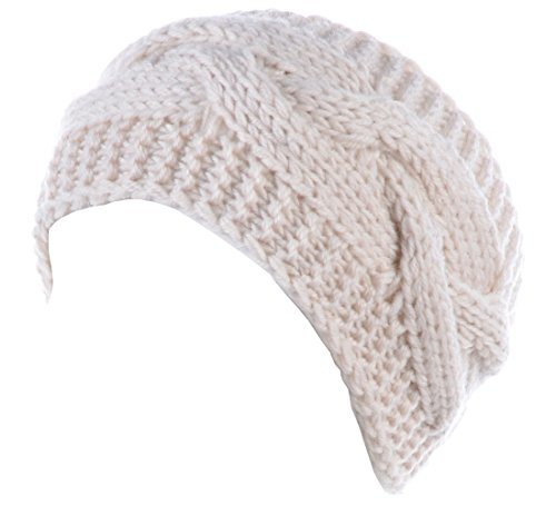 BYOS Womens Fashion Winter Cable Crochet Knit Headband With Adjustable Button (Acrylic Knit Headband)