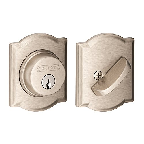 Schlage Lock Company Single Cylinder Deadbolt with Camelot Trim, Satin Nickel (B60 N CAM 619) (Cylinder Primus)