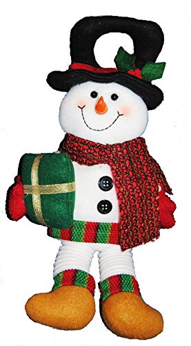 - Changing Seasons Christmas Plush Springy Leg Door Knob Hanger (White Snowman)