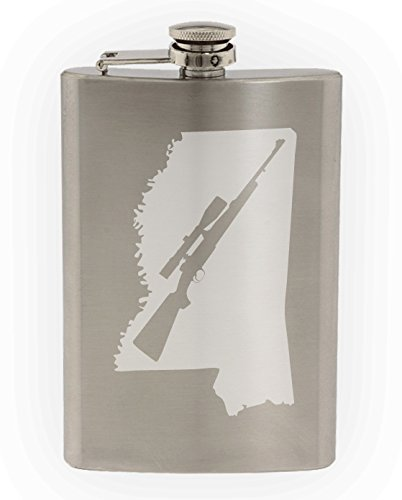 State of Mississippi with Scoped Hunting Style Rifle Cutout Etched 8oz Stainless Steel Flask