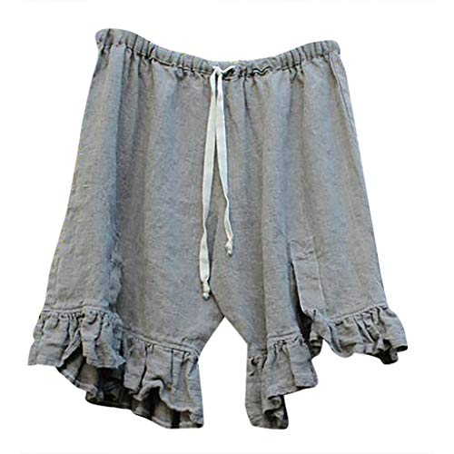JOFOW Shorts for Women Solid Ruffle Hem Strappy Tie Drawstring Pajamas Pants High Waist Loose A Line Comfy Casual Mini Trousers (2XL,Gray)
