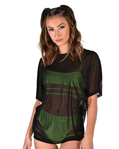 iHeartRaves Black Mesh Oversized T-Shirt (1X)